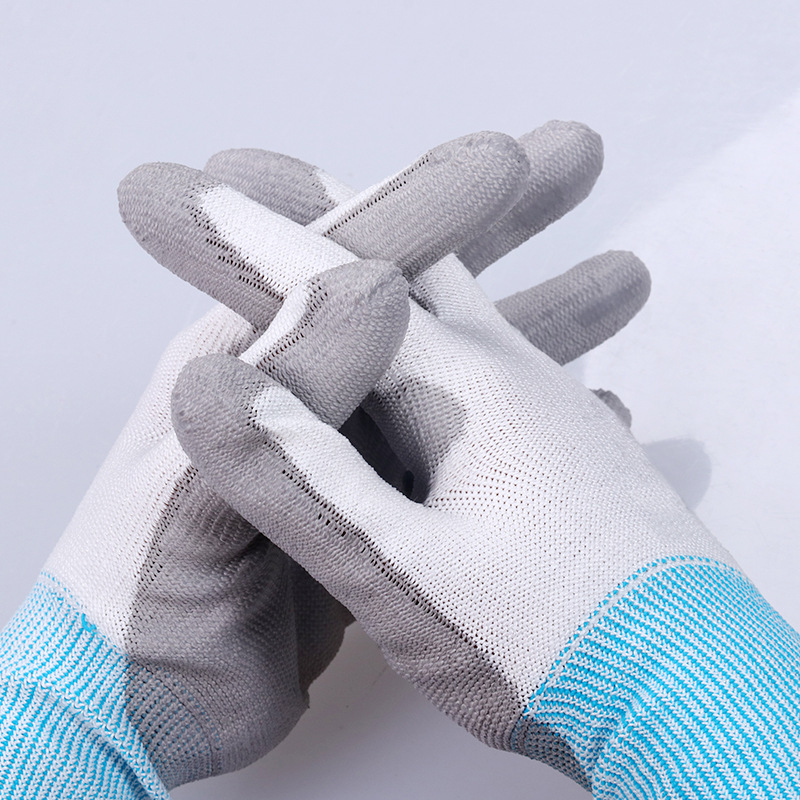 New 1/Pairs Anti-slip Working Gloves Anti-Cut Fiber With Palm PU Coated For Worker Car Repairing Garden Gloves Hands Protection