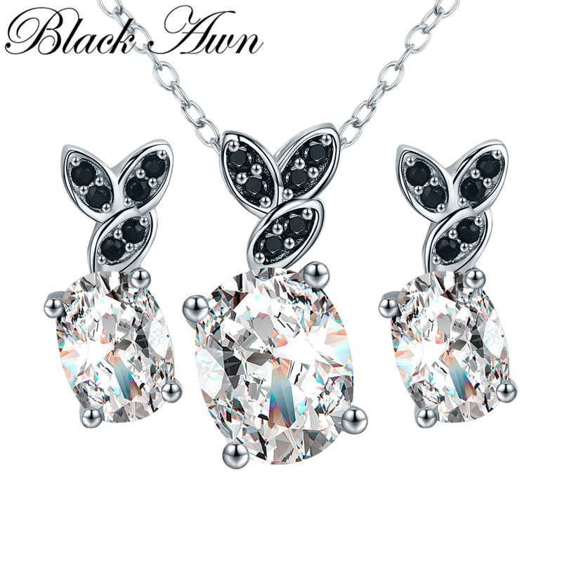 [BLACK AWN] 925 Sterling Silver Jewelry Sets Black Spinel Necklace Pendant Earrings Set for Women Silver 925 Jewelry Z013[BLACK AWN] 925 Sterling Silver Jewelry Sets Black Spinel Necklace Pendant Earrings Set for Women Silver 925 Jewelry Z013