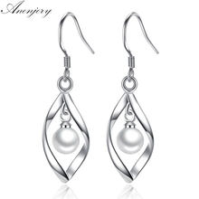 ANENJERY – boucles d'oreilles géométriques en argent Sterling 925 pour femmes, bijoux en perles torsadées, cadeau