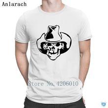 59bf7fc190 Crânio Chapéu de Cowboy Camisetas Caráter Euro Tamanho Tee Topos Clássico  Camisa de T Para Homens
