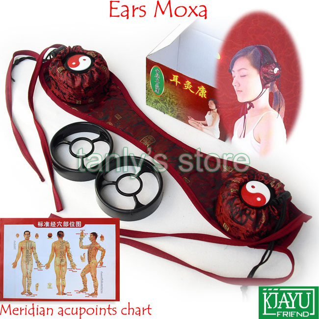 New Type! Ears Moxibustion Device (2 pieces moxa box+1piece cloth bag)/set health product Gift chart
