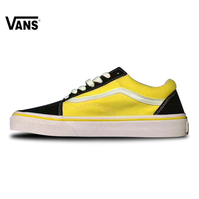 99a7f52d9f3297 Vans Classic Old Skool Sports Yellow Black Skateboarding Shoes Sneakers  Outdoor For Women W-VN0A38G1R1M