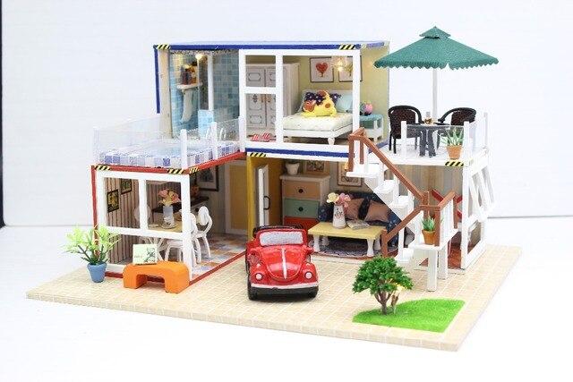 24e diy en bois artisanat poup es maison miniature diy kit. Black Bedroom Furniture Sets. Home Design Ideas