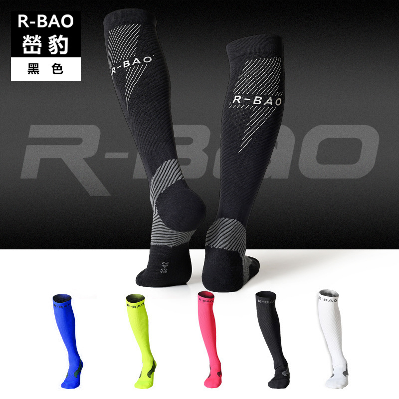 Unisex Knee High Sports Football Tube Soccer Socks Compression Running Socks Cycling Bowling Camping Hiking Sock 4 Colors
