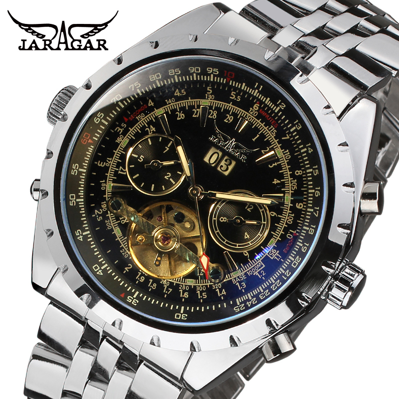Jargar Automatic men fashion tourbillon silver metal wristwatch with silver brass band JAG212M4S3 все цены
