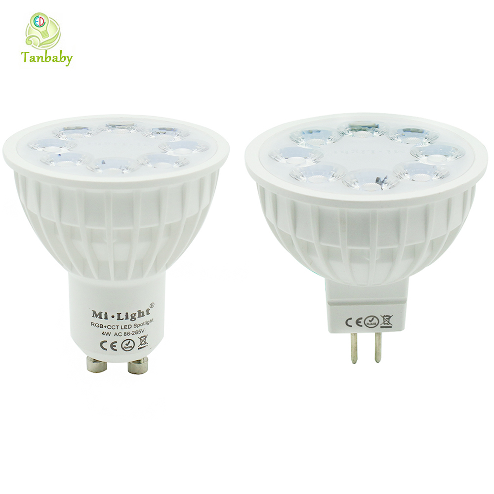 Tanbaby Mi.light 2.4G 4W RGB+CCT color change led spotlight GU10 MR16 dimmable spot light bulb lamp for indoor home decoration norms of nature – naturalism
