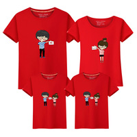 Summer Short Sleeve The Influx Children Parenting Dress Mother And Daughter Lovers Pity Dress Cartoon Cotton