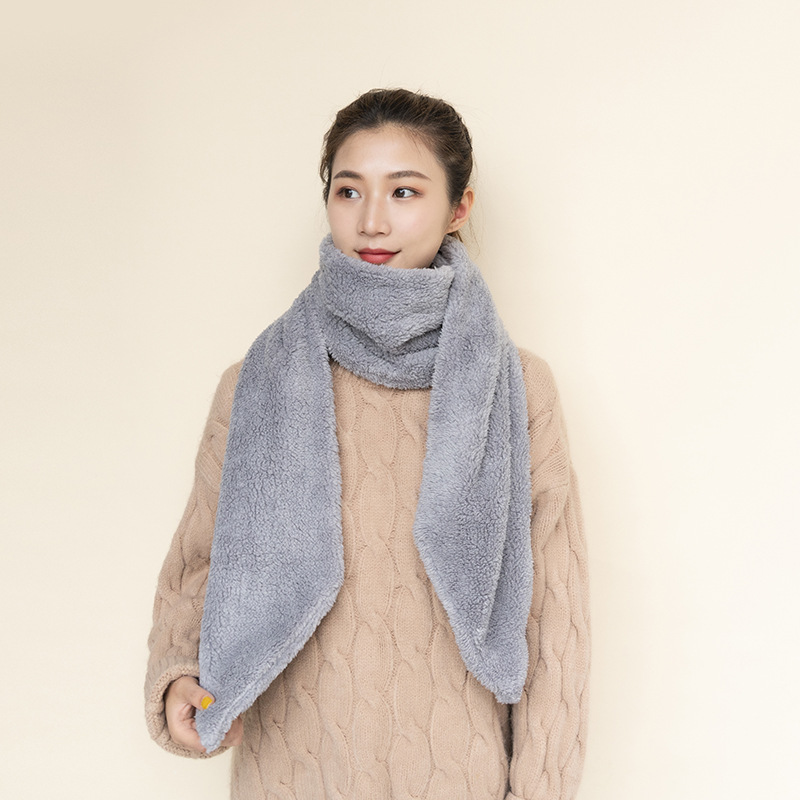 Women Men Long Keep Warm Lamb cashmere Fur Scarf Collar Winter(China)