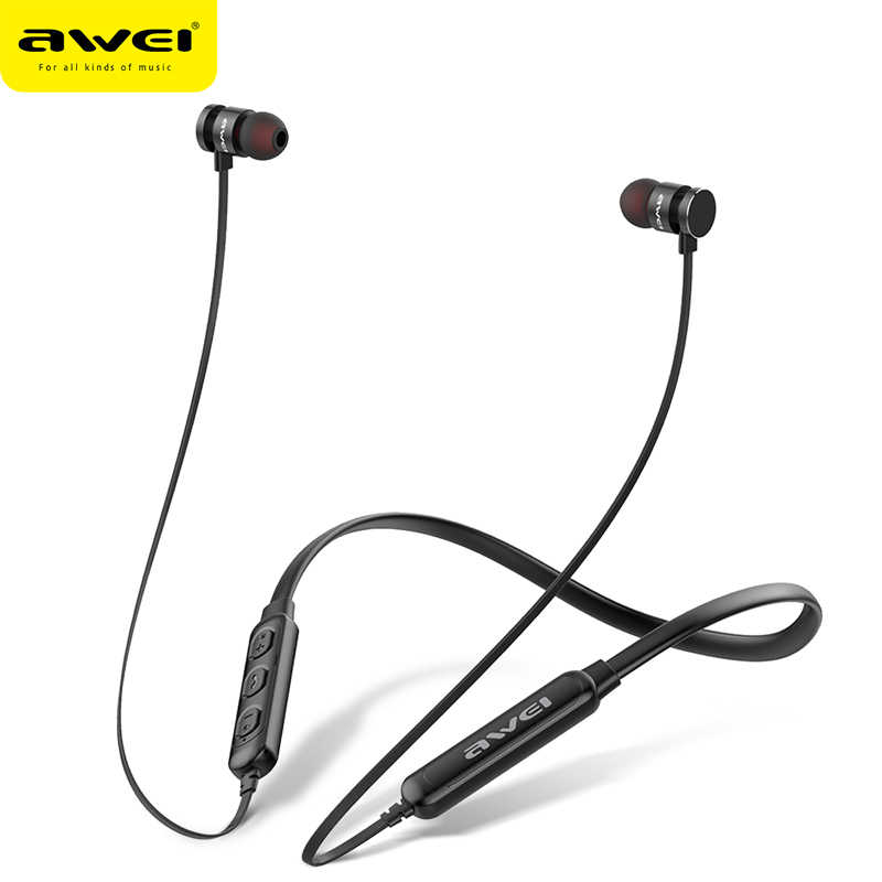 0c4375599c3 AWEI T11S Bluetooth Earphone Headset Wireless Headphone With Mic 3D Bass  Stereo Neckband Sport Earbuds for