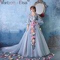 Vestidos Quinceanera 2017 Com Decote Em V Manga Comprida Vestido Quinceanera com Apliques Flores Long Train vestido de Baile Vestido De Quinceanera