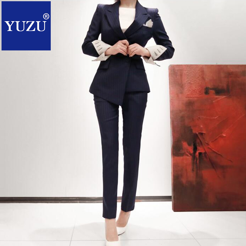 Suit Women Striped Blazer Set Korean Dark Blue Double Breasted