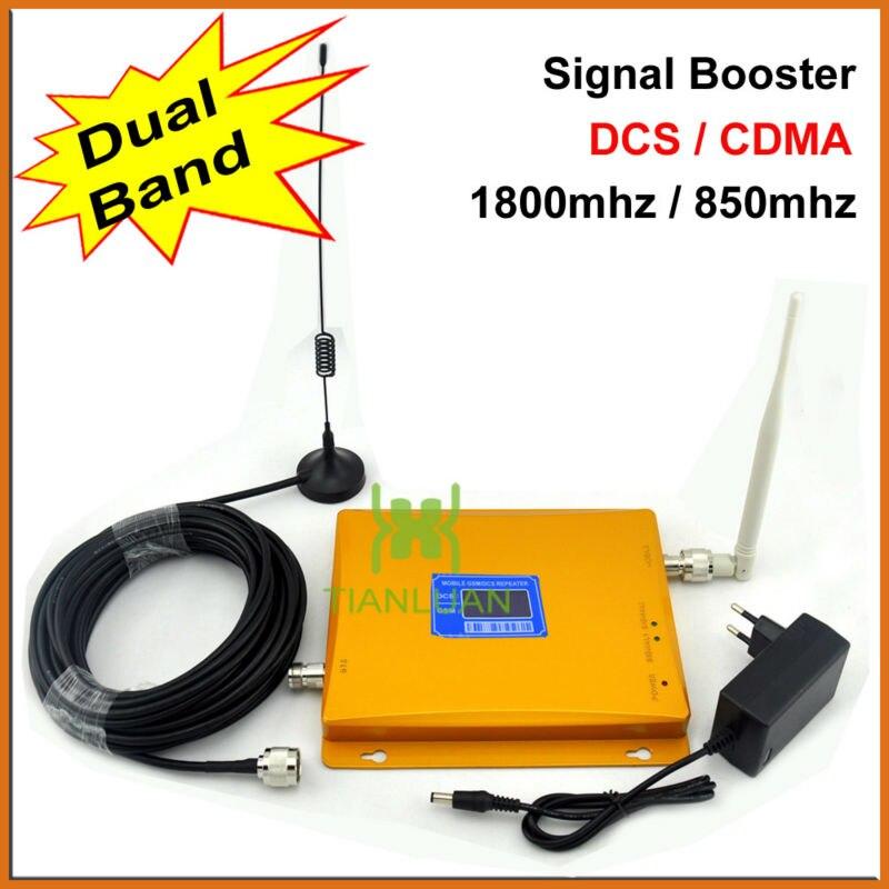 Amplificateur de répéteur de Signal de Booster de Signal de téléphone portable de double bande de CDMA 850 MHz DCS 1800 MHz avec l'antenne/affichage d'affichage à cristaux liquides/ensemble complet/or