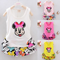 2015 Summer Baby Girl Clothing Set Mouse Vest Short Little Girl 2pcs Suit Cotton Cartoon Children Kid Toddler Girl Clothes Set