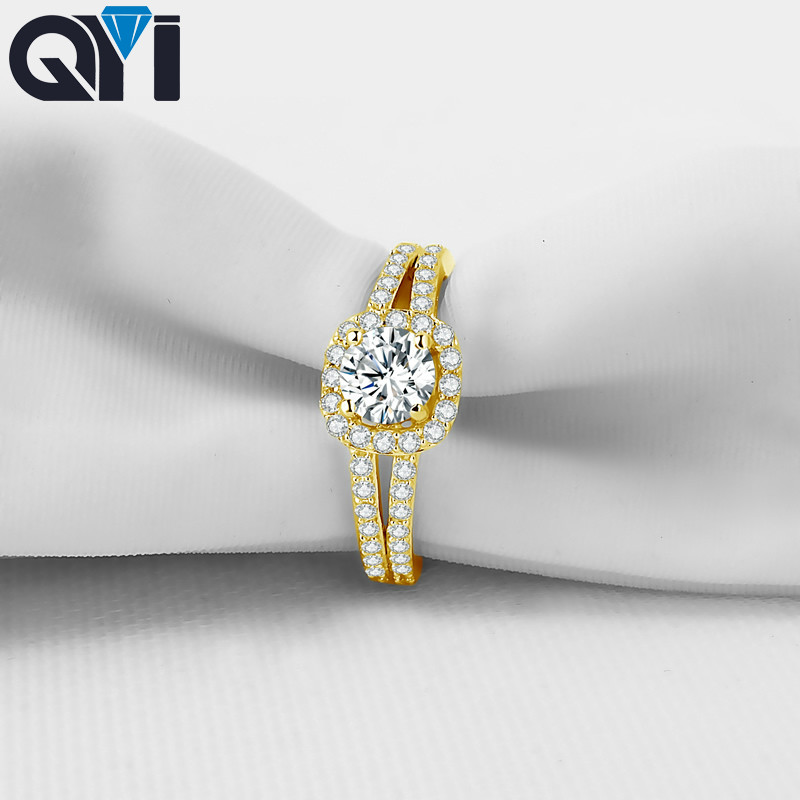 QYI 14K Solid Yellow Gold Split Band Rings For Women 1 ct Round Sona Simulated Diamond Halo Engagement RingQYI 14K Solid Yellow Gold Split Band Rings For Women 1 ct Round Sona Simulated Diamond Halo Engagement Ring