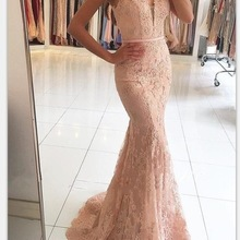Mermaid Formal Event Dresses V-Neck Appliqued With Lace Bead