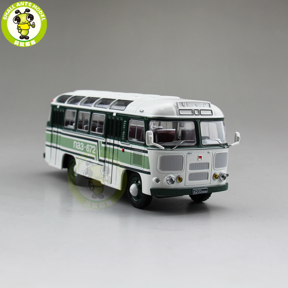 1/43 Classic PAZ 672 Soviet Union USSR Russia City Bus Coach Diecast Car Bus Model Kids Children Gift Collection Hobby Green 1 38 china gold dragon bus models xml6122 diecast bus model blue