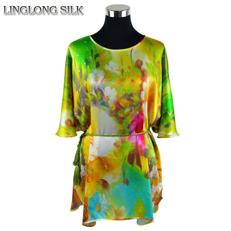 T-Shirt chauve-souris en soie imprimée/100% soie naturelle de mûrier/2018 été nouveau Design Floral de mode pour les femmes/Plus grande taille vêtements pour femmes