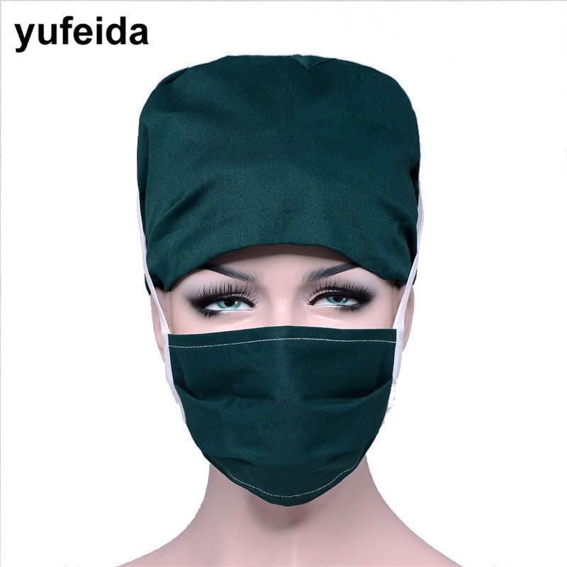 YUFEIDA Hospital Doctor Medical Scrub Caps Lab Surgical Solid Unisex Adjustable Caps Nurse Doctor Caps and Masks