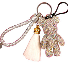 2019 New Luxury Cute Bling Full Rhinestones Gloomy Bear Keychain Car Key Chain Ring Pendant For Bag Charm Hotsale Gifts