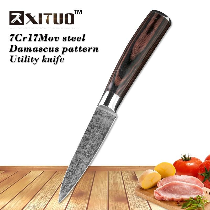 """A legalacsonyabb ár 3,5 """"hüvelykes Utility konyhakéssel A japán damaszkuszi acél utánzási kései Santoku Peeling Knife kés"""