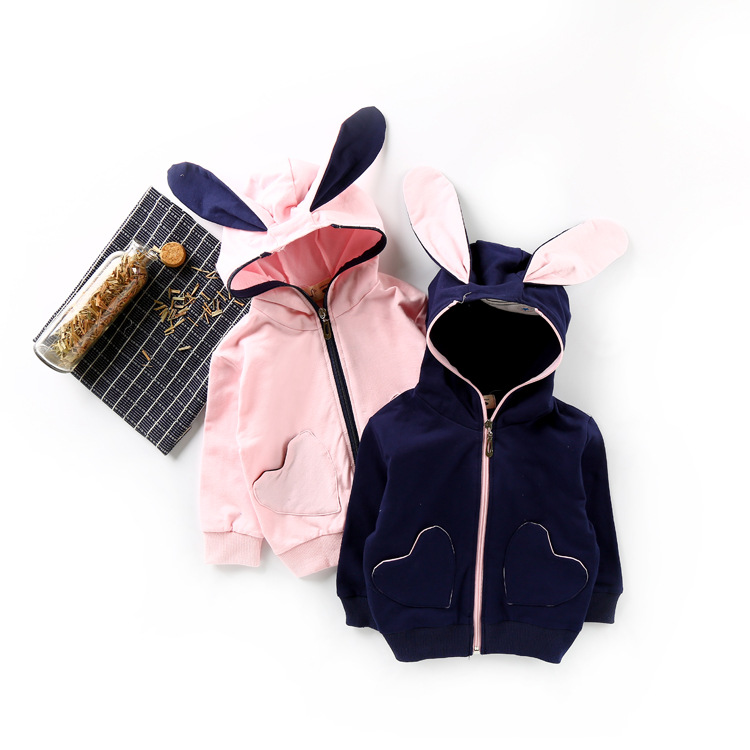 2017 New Baby Girls Jacket Autumn Hooded Coats Bunny Rabbit Ears Pink Heart Pattern Outwear for Toddler Girl Age 1 2 3 4 Years