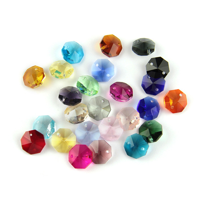 Crystal Glass Prisms 14mm Mixed Color Crystal Chandelier Octagon Beads Decorative Chandelier Wedding