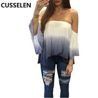 CUSSELEN T Shirt Women Long Sleeve Cold Shoulder Tops 2016 Autumn Loose Tees Sexy Ladies Round