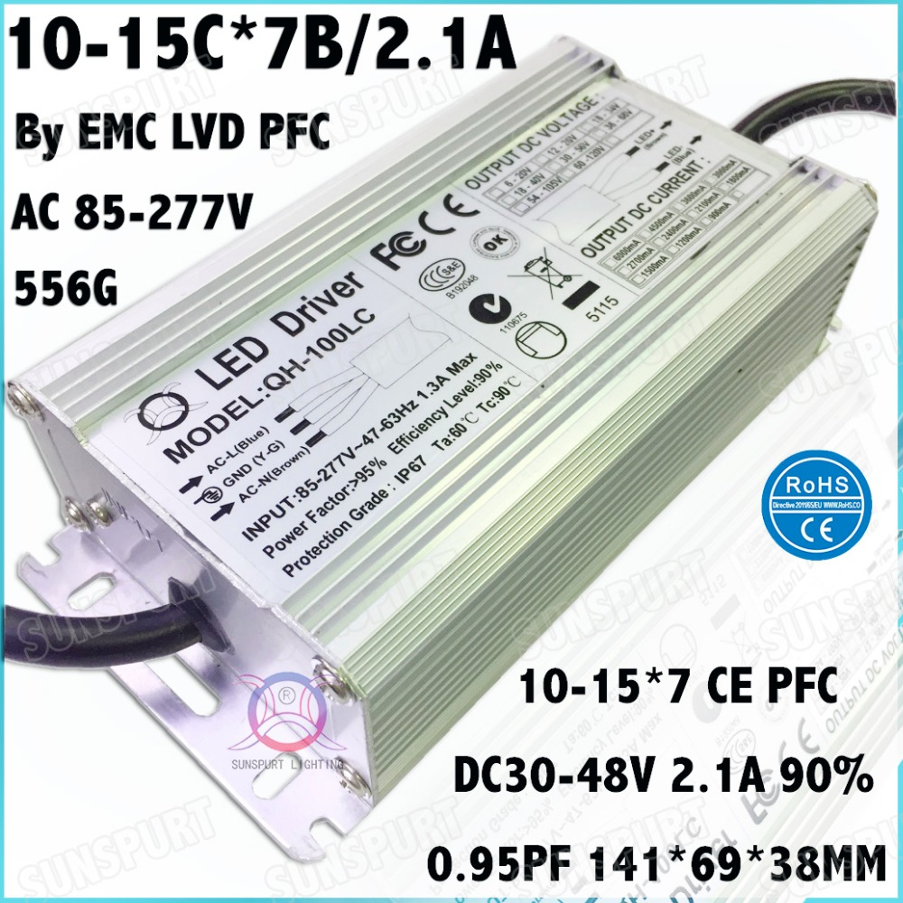 2 Pcs By EMC LVD IP67 100W AC85-277V LED Driver 10-15x7B 2100mA DC30-48V Constant Current LED Power For Spotlights Free Shipping