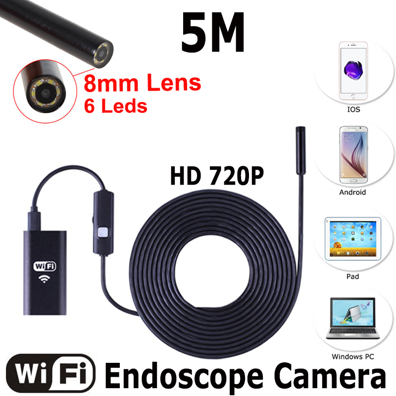 8mm Dia WIFI Endoscope Cmos 5m Long Cable Waterproof 6-led Borescope Endoscope Inspection Car Visual Camera Copper Pipe Video eyoyo nts200 endoscope inspection camera with 3 5 inch lcd monitor 8 2mm diameter 2 meters tube borescope zoom rotate flip