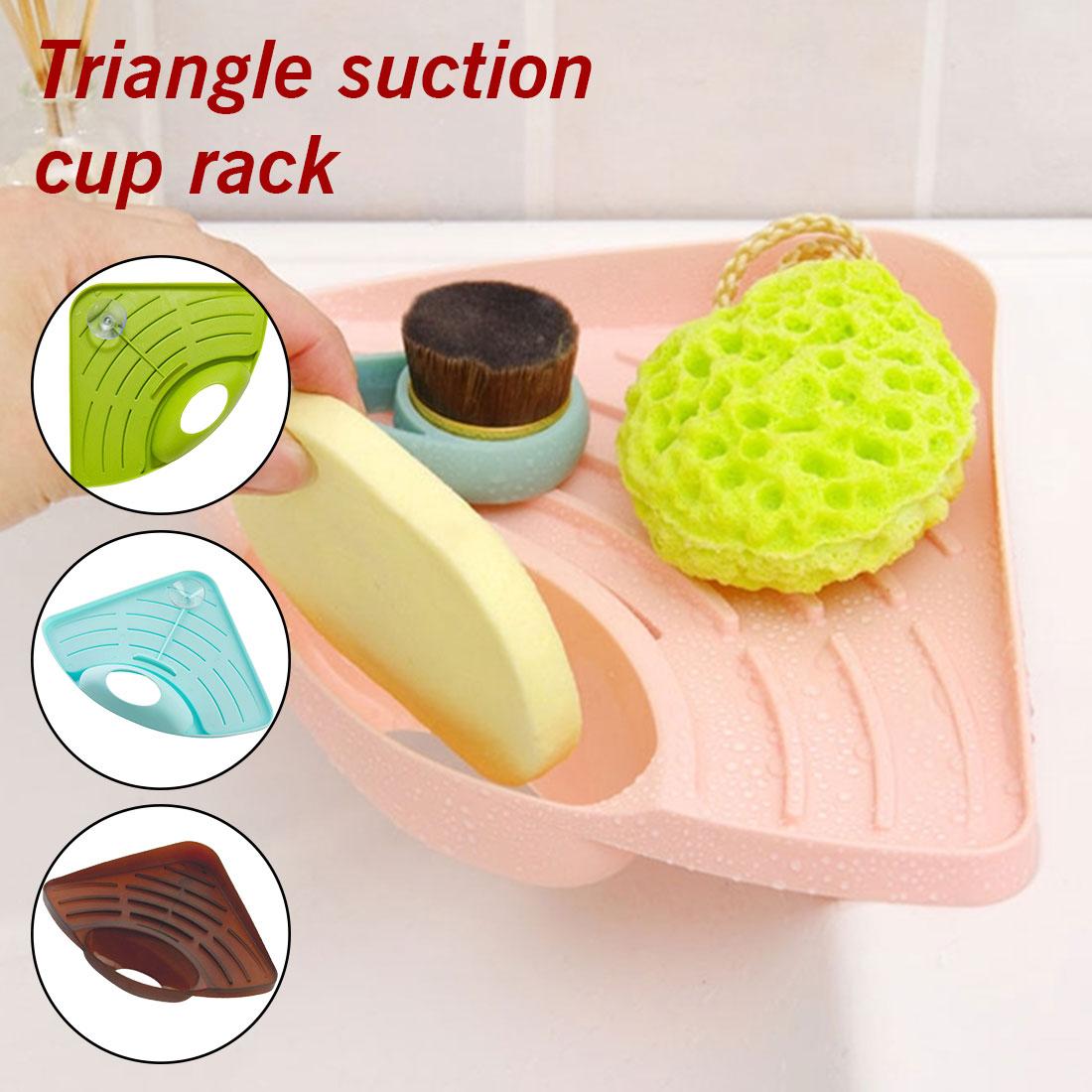 Home Kitchen Sink Corner Storage Rack Solid Color Sponge