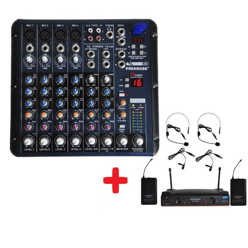 FREEBOSS KU-22H2 UHF Headset Wireless microphone + SMR8 Audio Mixer dra818u uhf band ham radio wireless audio module dark blue silver