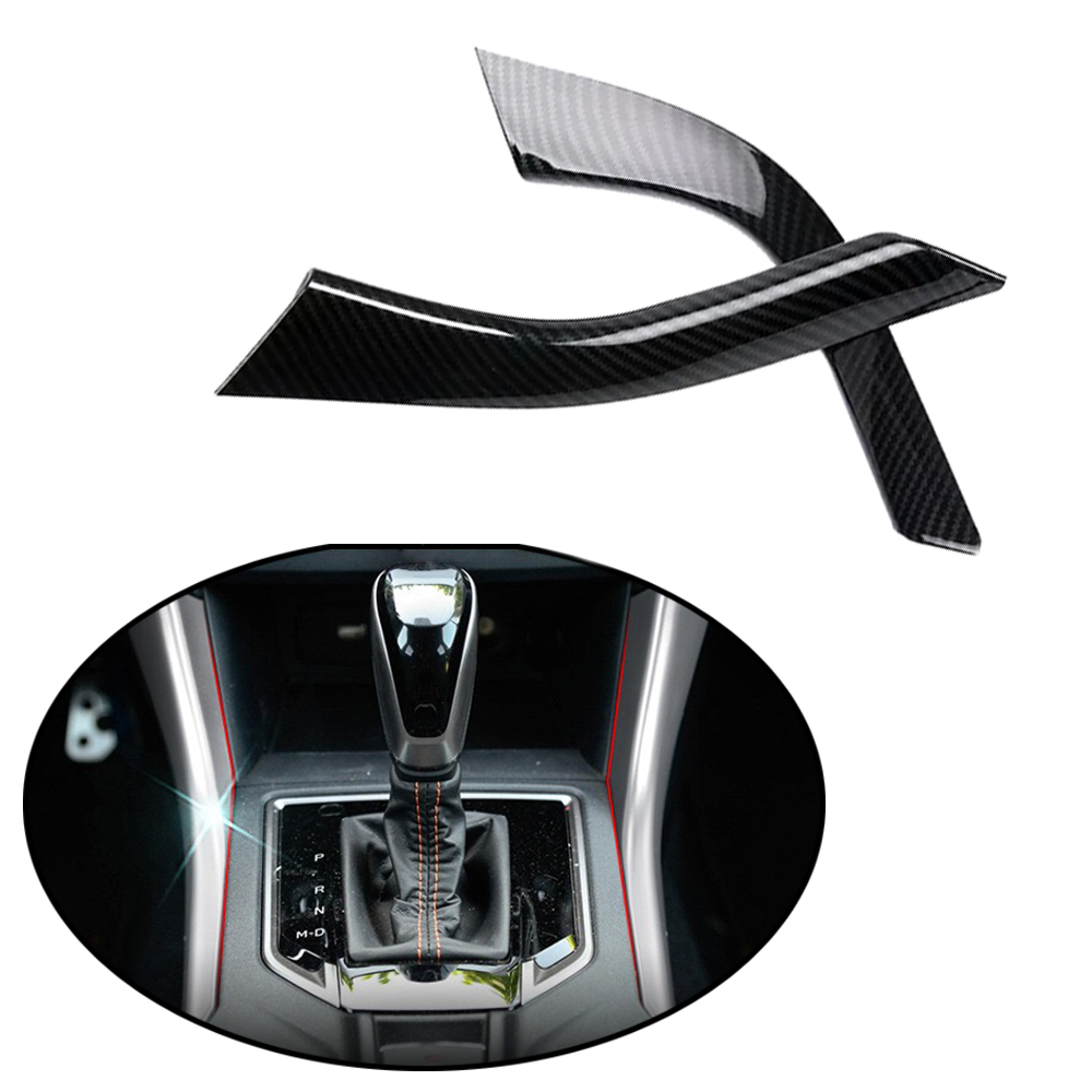 JEAZEA 2Pcs Carbon Fiber font b Interior b font Dashboard Strips Gear Shift Lever Trim Decorate