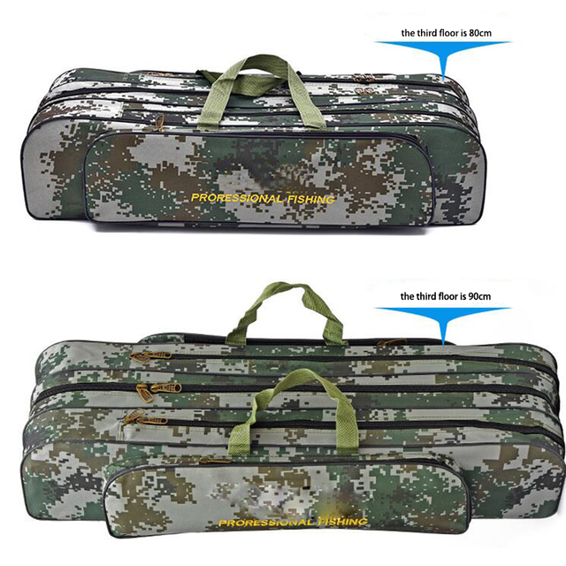 Digital Camouflage Wire Fishing Bag Sea Fishing Bag Large Space3 Layer 80/90cm Fishing Rod Kit Embroidery Fishing Gear Wholesale 1
