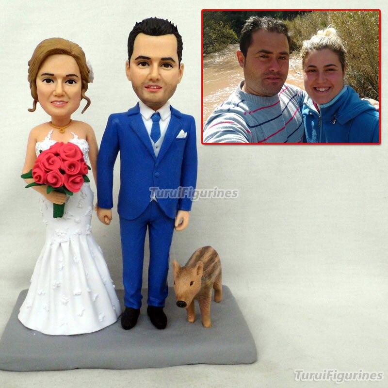 Personnalisé ooak polymère argile poupée mariage anniversaire gâteau topper cadeau pour parents couple présent personnalisé animal homme portrait - 6