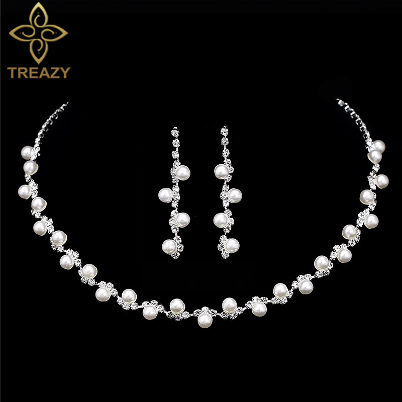 TREAZY Necklace Earrings Jewelry-Sets Choker Rhinestone African Simulated-Pearl-Bridal