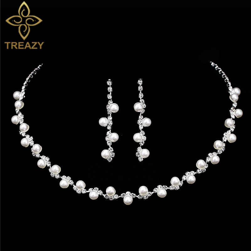 TREAZY Simulated Pearl Bridal Jewelry Sets Fashion Rhinestone Choker Necklace Earrings African Wedding Jewelry Sets for Women
