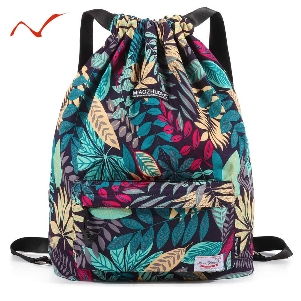 Waterproof Drawstring Backpack Leaf Pattern Sports Bags for Women Men Outdoor Fitness Training Gym Surfing Bag