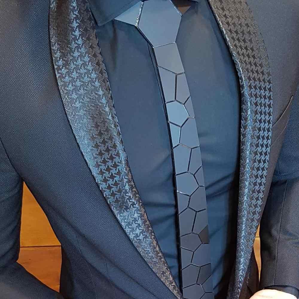 ペイズリーマット黒ネクタイスリムメタリックスマートネクタイ 7 色ハンカチセット記念ギフト男性の結婚式六角ネクタイスタイリッシュな