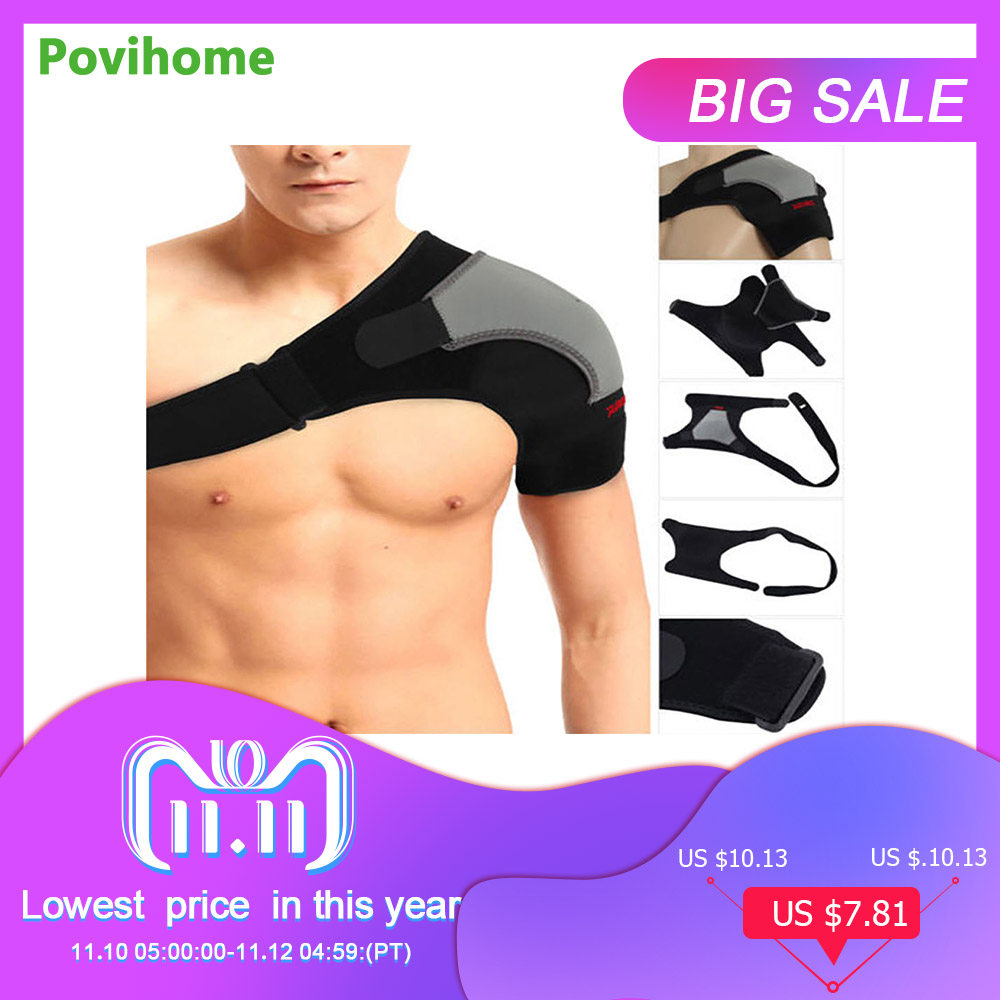 купить Adjustable Left/Right Shoulder Bandage Protector Brace Joint Pain Injury Shoulder Support Strap Training Sports Equipment Z16401 по цене 677.94 рублей