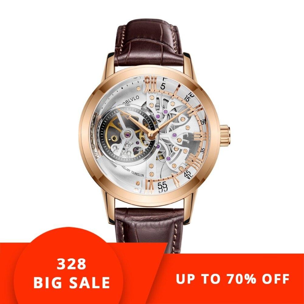 OBLVLO De Luxe décontracté montres or rose Ton Véritable Bracelet En Cuir Squelette montres automatiques pour Hommes VM 1