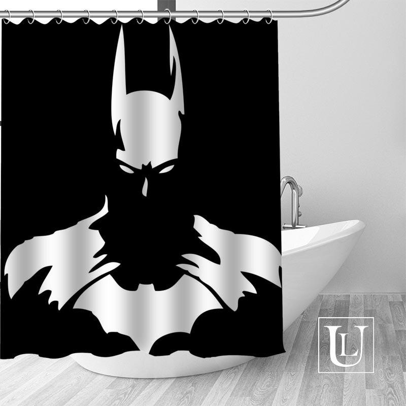 Marvel Spiderman Deadpool Batman Waterproof Fabric Bathroom Shower Curtain Hooks