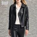 Черный натуральная кожа куртка женщин 100% Овчины куртка мотоцикла офф-центр почтовый карман в юбке весте ан cuir femme LT725 Бесплатная корабль