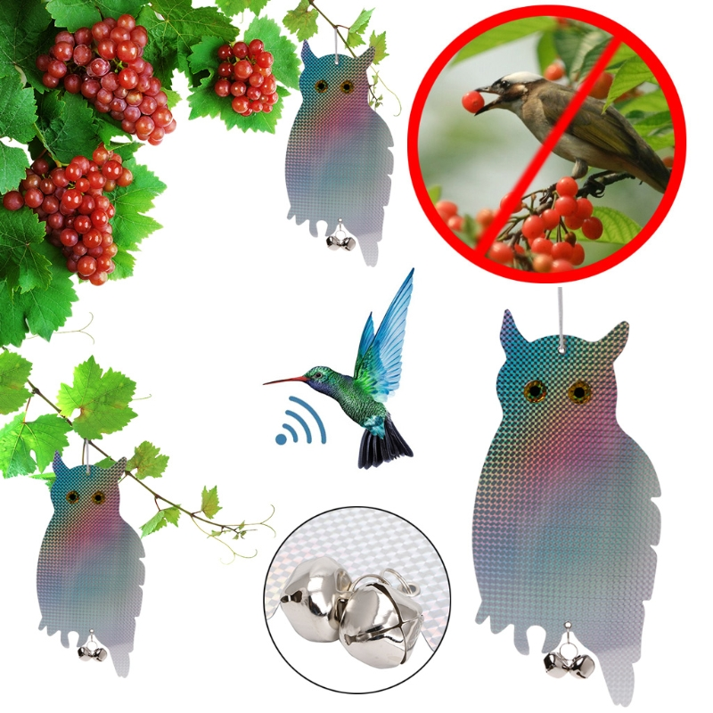 2Pcs Fake Owl Bird Scare Repellent Reflective Hanging Device With Tinkling Bells