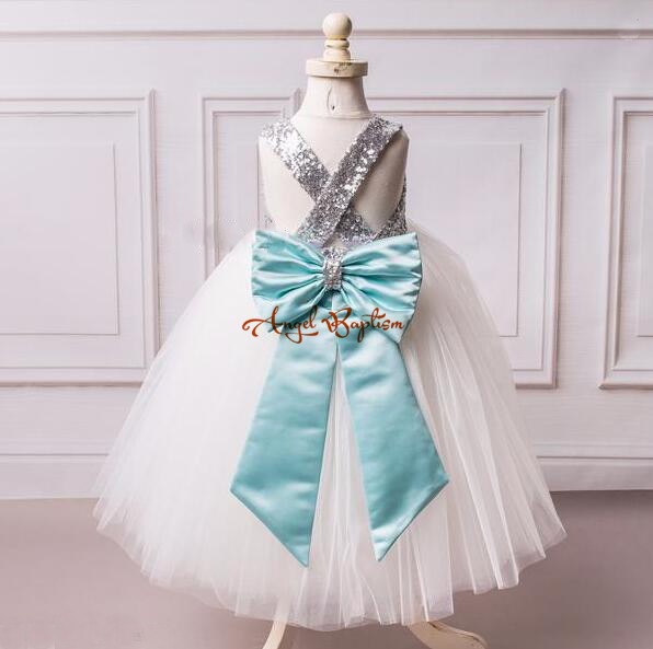 2017 ball gown puffy white tulle flower girl dresses with silver sequins top and blue big bow criss-cross back gown for wedding new 2017 sleeveless criss cross back backless puffy tiered scoop neck white ball gown flower girl dress for wedding kid gown