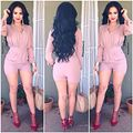 2016 new vintage fashion sexy summer shorts top girl bodysuit Hot  Styles Pink long Trench Rompers  Womens Jumpsuit Playsuit