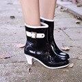 Мода на высоком каблуке Женские Сапоги Водонепроницаемый противоскольжения Пряжки Сапоги Воды Обувь Rainshoes Женщины Повседневная Обувь Твердые