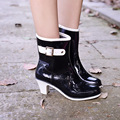 Fashion High-heeled Ladies Boots Waterproof Anti-skid Buckle Boots Water Shoes Rainshoes Women Casual Shoes Solid
