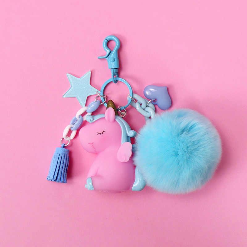 2019 Moda Jóias Venda Quente Bonito Unicórnio Animal Keychain Chaveiros PVC Mulheres Bolsa Charme Chave Pingente Anel de Presentes de Alta Qualidade