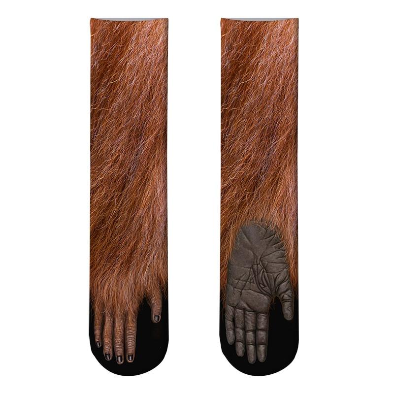 Новый 3D печать для взрослых животных лапы носки мужская экипажа кот длинный запасы эластичный дышащий носок Собака Лошадь Зебра свинья кошка лапой