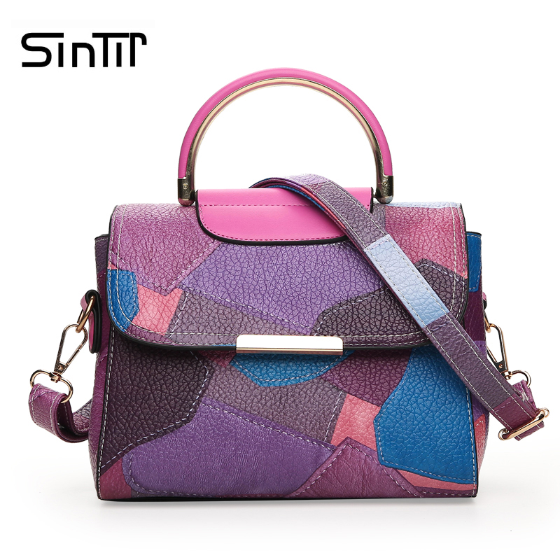 SINTIR 2017 Fashion Patchwork Women Handbags PU Leather Girls Messenger Bags Korean Ladies Shoulder Bag Sac a Main Bolsos Mujer new fashion women handbag women leather shoulder bag patchwork handbags brown plaid messenger bag tote bags bolsos mujer free